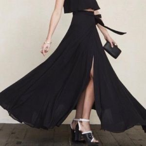 Reformation Black Maxi Wrap Skirt